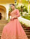 photograph of Festive Special Art Silk Salmon Function Wear Anarkali Salwar Kameez With Embroidery Designs