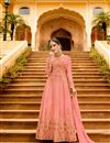 image of Festive Special Art Silk Salmon Function Wear Anarkali Salwar Kameez With Embroidery Designs