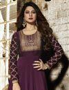 photo of Jennifer Winget Party Wear Designer Burgundy Color Floor Length Anarkali Dress In Georgette