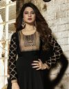 photo of Jennifer Winget Party Wear Designer Floor Length Black Anarkali Dress In Georgette