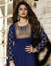 photo of Jennifer Winget Party Wear Designer Blue Floor Length Anarkali Dress In Georgette