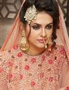 picture of Georgette And Velvet Fabric Embroidered Long Anarkali Suit In Peach Color