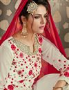 photo of Embroidered Georgette Fabric Designer Salwar Kameez In Off White Color