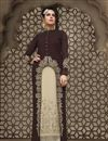 image of Georgette Fabric Straight Cut Long Length Embroidered Palazzo Suit In Brown And Off White Color