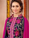 photo of Embroidered Designer Navy Blue Color Pakistani Style Suit In Georgette Fabric