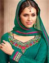 photo of Festive Wear Designer Teal Color Silk Pakistani Style Salwar kameez