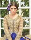 photo of Alluring Beige-Blue Color Net Palazzo Suit