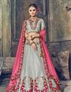 image of Wedding Function Wear Grey Banarasi Silk Designer Lehenga