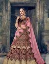 photo of Wedding Function Wear Wine Velvet Designer Lehenga