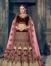 image of Wedding Function Wear Wine Velvet Designer Lehenga