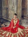 photo of Embroidered Banarasi Silk Cream Designer Fancy Lehenga Choli