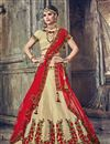 image of Wedding Special Embroidered Banarasi Silk Cream Designer Fancy Lehenga Choli