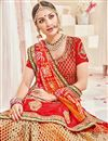photo of Designer Wedding Wear Fancy Red And Orange Color Net Fabric Embroidered Saree With Heavy Blouse
