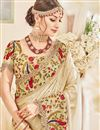 photo of Fancy Wedding Wear Designer Cream Color Silk Fabric Saree With Embroidered Blouse