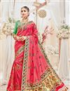 image of Designer Wedding Wear Fancy Pink Color Silk Fabric Embroidered Saree With Heavy Blouse