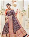 image of Wedding Function Wear Navy Blue Color Silk Fabric Designer Embellished Saree With Fancy Blouse