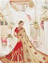 photo of Reception Wear Red And Cream Color Designer Net Fabric Embroidered Saree With Heavy Blouse