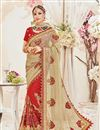 image of Reception Wear Red And Cream Color Designer Net Fabric Embroidered Saree With Heavy Blouse