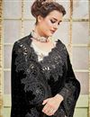 photo of Designer Sangeet Wear Black And White Color Velvet Fabric Fancy Saree With Embellished Blouse