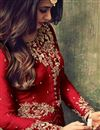 photo of Sonal Chauhan Designer Party Wear Red Color Net Fabric Long Anarkali Salwar Suit