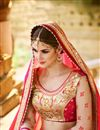 photo of Beige And Pink Color Stylish Wedding Wear Designer Satin And Net Saree