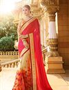 image of Beige And Pink Color Stylish Wedding Wear Designer Satin And Net Saree
