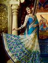 image of Beige And Cyan Color Stylish Wedding Wear Designer Satin And Net Saree