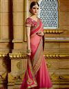 photo of Gorgeous Pink Color Embroidered Designer Saree In Chiffon Fabric