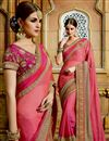 image of Gorgeous Pink Color Embroidered Designer Saree In Chiffon Fabric