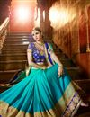 photo of Beautifully Embroidered Cyan Color Classy Designer Saree In Chiffon Fabric