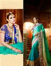 image of Gorgeous Cyan Color Embroidered Designer Saree In Chiffon Fabric