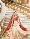 photo of Cream And Red Color Party Wear Embroidered Saree In Georgette Fabric