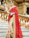 image of Cream And Red Color Party Wear Embroidered Saree In Georgette Fabric