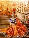 photo of Orange Color Party Wear Satin And Georgette Saree With Embroidered Blouse