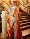 image of Orange Color Party Wear Satin And Georgette Saree With Embroidered Blouse