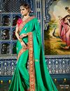 image of Designer Party Wear Stylish Green Color Saree In Satin And Georgette Fabric
