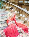 photo of Classy Pink Color Party Wear Georgette Saree With Embroidery Work