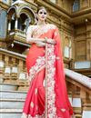 image of Classy Pink Color Party Wear Georgette Saree With Embroidery Work