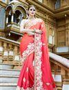 image of Pink Color Stylish Wedding Wear Designer Georgette Saree