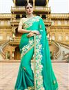 image of Gorgeous Cyan Color Embroidered Designer Saree In Georgette Fabric