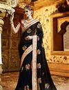 image of Beautifully Embroidered Black Color Classy Designer Saree In Georgette Fabric