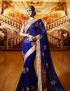 image of Beautifully Embroidered Blue Color Classy Designer Saree In Georgette Fabric