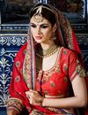photo of Red Color Party Wear Embroidered Saree In Georgette Fabric