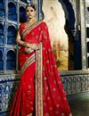 image of Red Color Party Wear Georgette Saree With Embroidered Blouse
