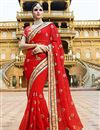 image of Designer Party Wear Stylish Red Color Saree In Georgette Fabric