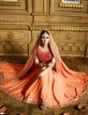 photo of Designer Party Wear Stylish Orange Color Saree In Georgette Fabric