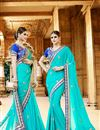 image of Designer Party Wear Stylish Cyan Color Saree In Georgette Fabric