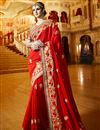 image of Classy Red Color Party Wear Satin And Georgette Saree With Embroidery Work