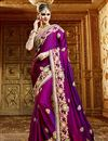 image of Beautifully Embroidered Purple Color Classy Designer Saree In Satin And Georgette Fabric