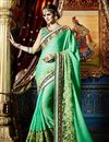 image of Green Color Party Wear Embroidered Saree In Georgette And Net Fabric
